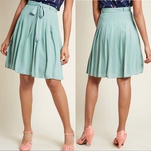 ModCloth Purely Pretty Pleated Skirt in Sage